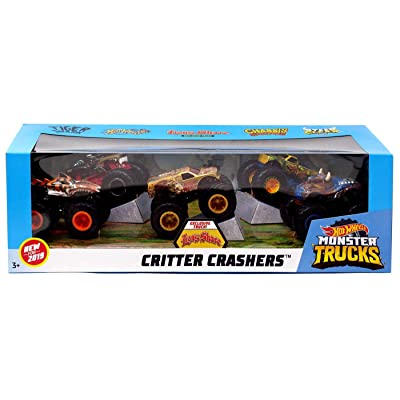 2020 Hot Wheels Critter Crashers Monster Trucks 5 in 1 with 1 Exclusive! -- Tiger Shark, Hot Weiler, Lions Share, Chassis Snapper, Steer Clear: Toys & Games