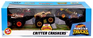 2019 Hot Wheels Critter Crashers Monster Trucks 5 in 1 with 1 Exclusive! -- Tiger Shark, Hot Weiler, Lions Share, Chassis Snapper, Steer Clear