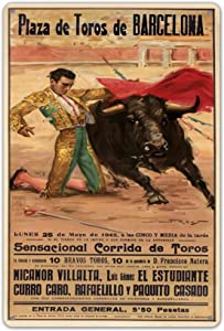 Wisesign Wall Decor World Tour Barcelona Bullfighting Poster Torero Outdoor Indoor 8x12 Signs Novelty Tin Sign Metal Signs