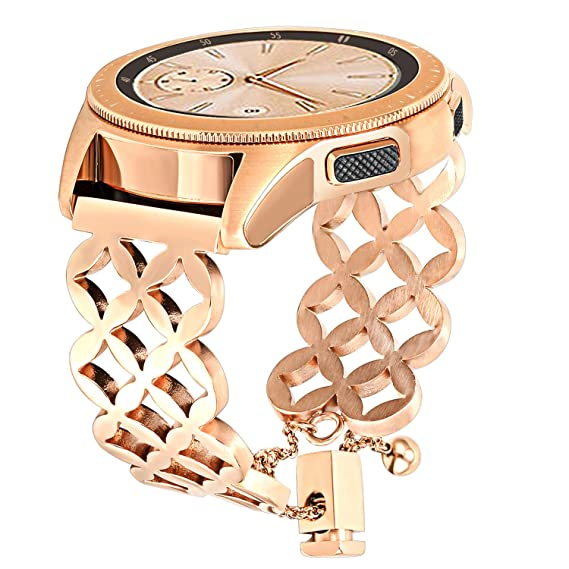 for Galaxy Watch 42mm Women Bands, TRUMiRR Jewelry Bangle Watchband Bling Hollow Stainless Steel Strap