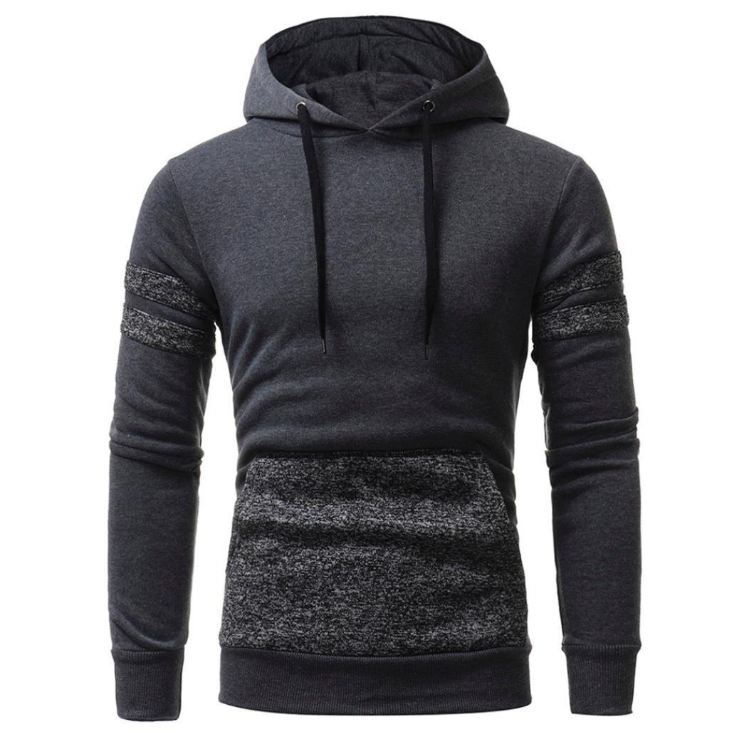 Amimgo Hot! Men's Fleece Long Sleeve Camouflage Hoodie Hooded Sweatshirt Athletic Men's Pullover Fleece Hoodie (Gray, L) by Amimgo