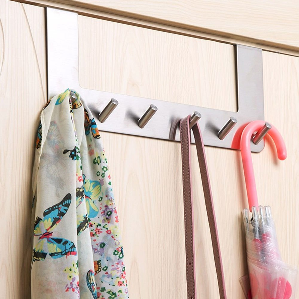 Lebather Over the Door Hooks Coat Towel Clothes Bags Utility Hanger Holder Storage,Stainless Steel,14 Inch,6 Hooks