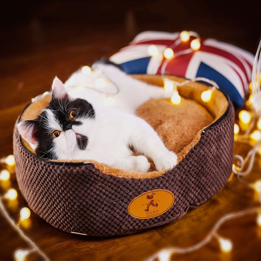 Cama Perro Pet Dog Cat Linen Cloth Cloth Sofa House Cave Bed Cute Animal House (Color : Brown, Tamaño : 70  70  66cm)
