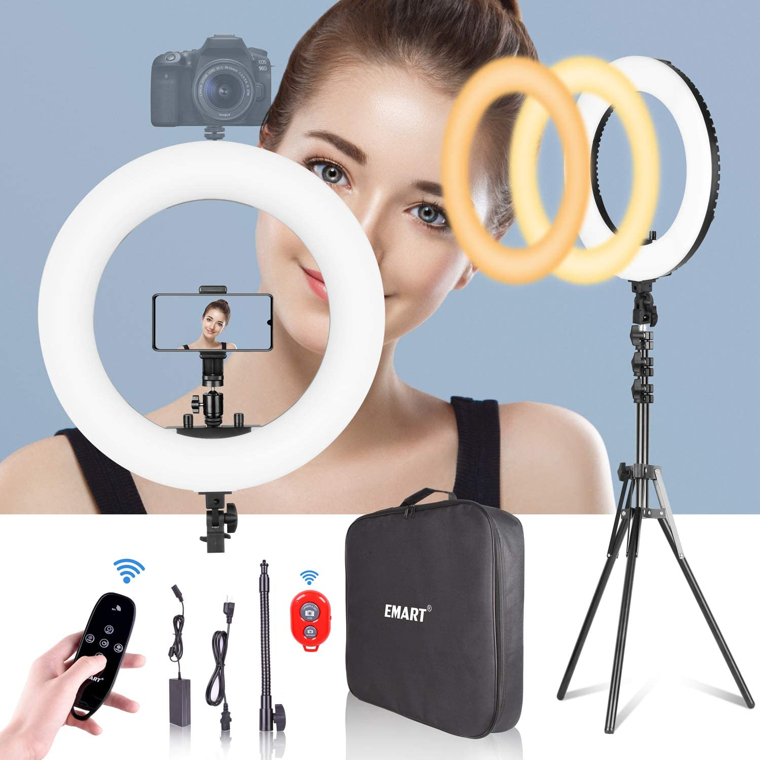 Emart 18-inch Ring Light with Stand, Big Adjustable 3200-5500K LED Lights Ring with Ultra-wide Lighting Area for Camera Photography, YouTube Videos, Makeup (Kit: Phone Holder, Remote, Soft Tube, etc.) : Camera & Photo