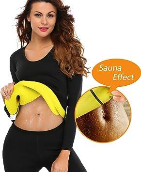 NOVECASA Camisa Sauna Manga Larga Shirt Trajes de Sauna Deportivos Mujer de Neopreno Body Shaper para Sudoración,Quema Grasa,Adelgazante: Amazon.es: Deportes y aire libre