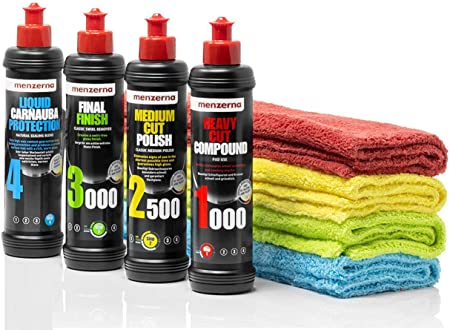 Detailmate Politur Set Menzerna Autopolitur 250ml Super Heavy Cut Compund Hc1000 Medium Cut 2500 Final Finish Ff3000 Liquid Caion Versiegelung Wachs 4 Poliertücher Für Auto Lack Auto