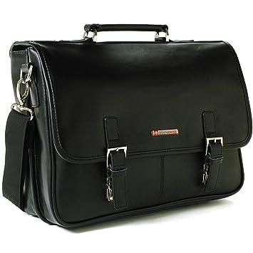 4ffc3bf8a Amazon.com | Alpine Swiss Leather Briefcase Laptop Case Messenger Bag,  Black | Briefcases