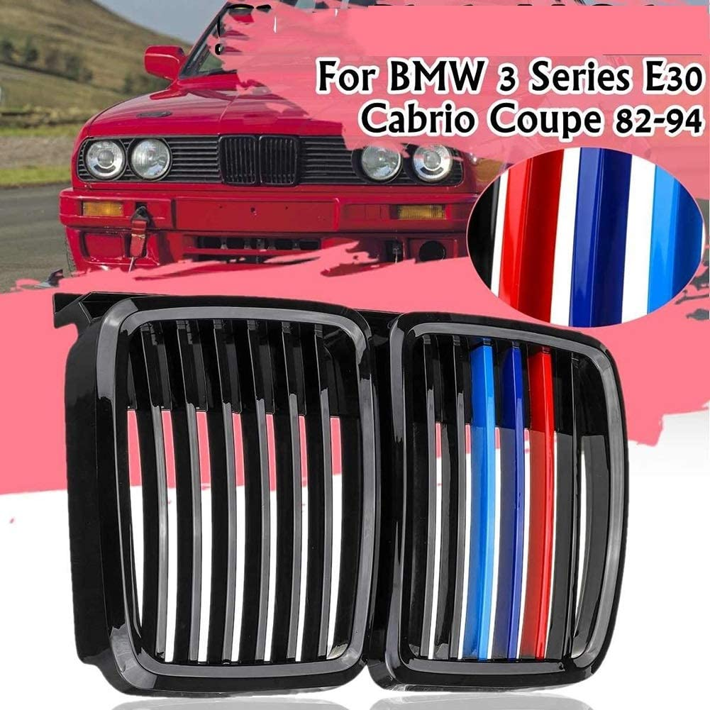 1 Paar Schwarz M Farbe Links Rechts Auto Frontsto/ßstange Kidney Roste Fit for BMW E30 Limousine//Cabrio 1982-1994 Ersatz Racing Roste