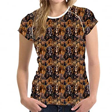 Womens 3D Irish Setter Puzzle Print Breathable T Shirt for Casual Short Sleeve Tops Shirt Summer