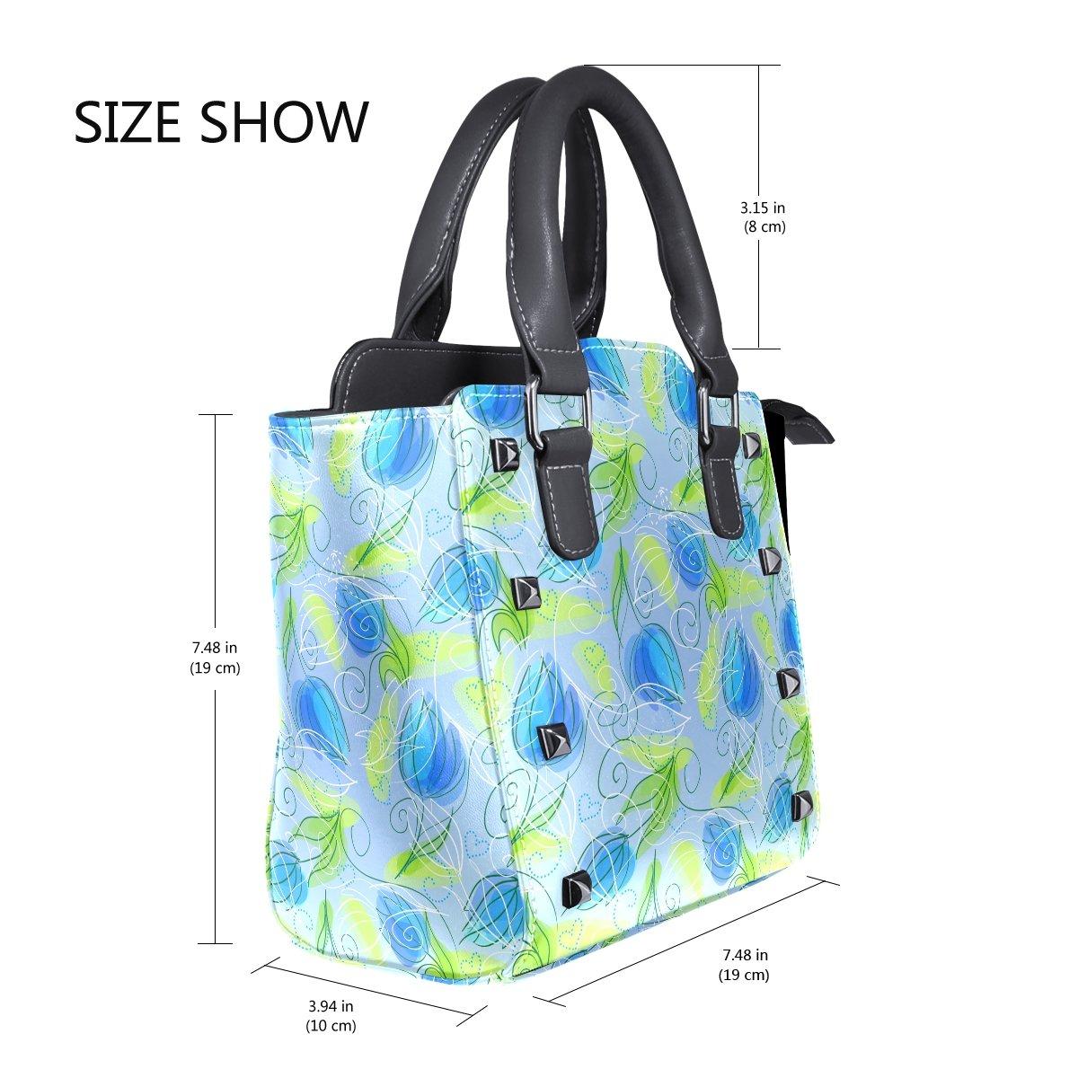 Jennifer PU Leather Top-Handle Handbags Abstract Blue Flower Patterns Single-Shoulder Tote Crossbody Bag Messenger Bags For Women