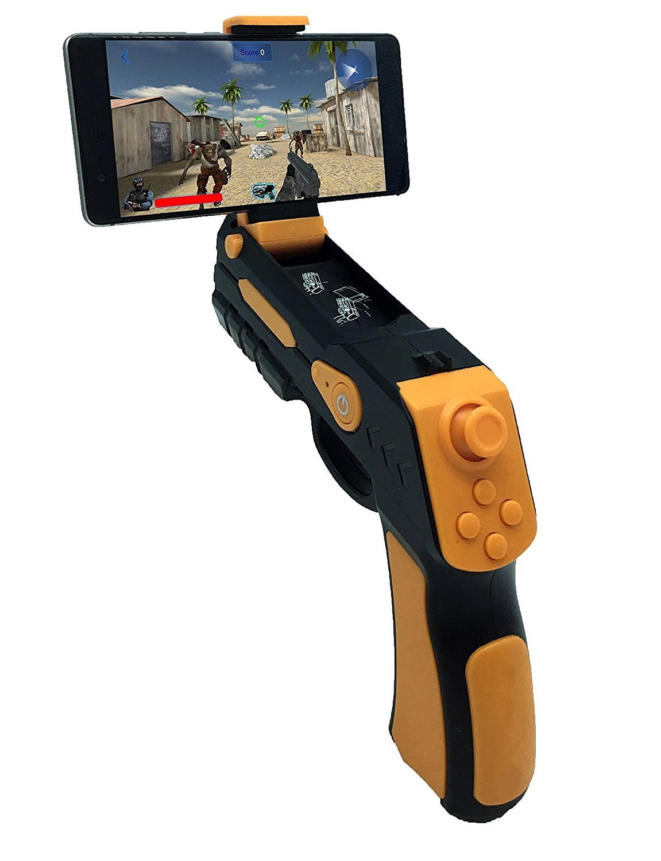AR Game Gun, Bluetooth AR Toys Gun ar Blaster Joystick iOS iPhone Android Smart Phone Augmented Reality AR Game Controller (Orange)