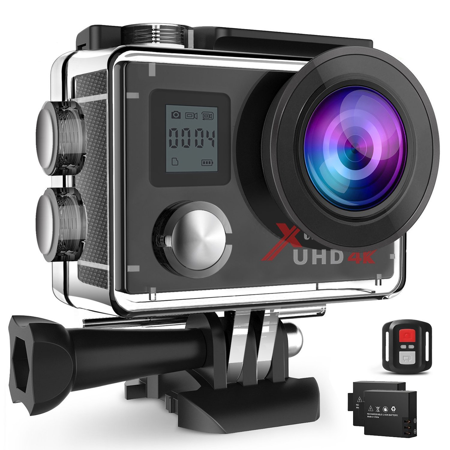 Campark Action Camera 4K WIFI Ultra HD Sports Cam Underwater Waterproof 30M 170°Wide-angle Lens with Remote Control 2 Recharge Batteries and Mounting Accessories Kit Compatible with Gopro Camera