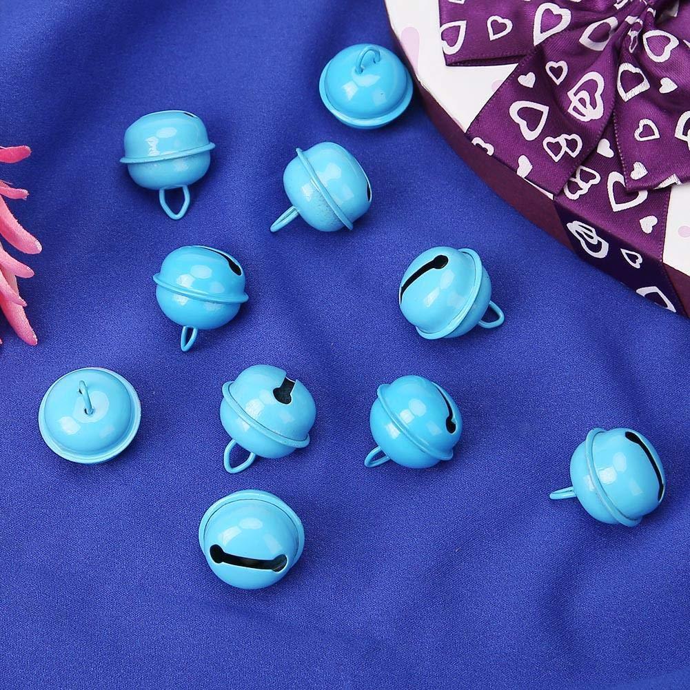 VKTECH 20pcs 1 Inch Christmas Jingle Bells Craft Hanging Ornaments Festival Decoration Pet Pendants Lake Blue