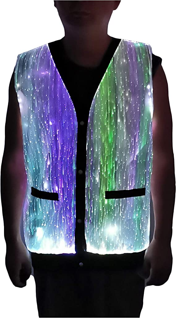 LED Light up Fiber Optic Sleeveless Costume Hoodie Glow in the Dark Club Wear