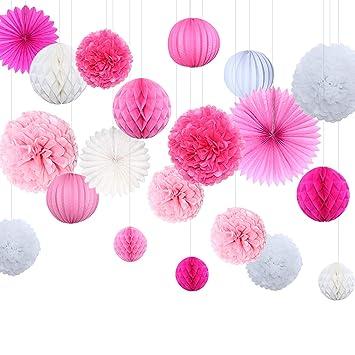 Himeland 20er Seidenpapier Blumen Pompoms Set, Wabenbälle Lampions Laternen  Fächer Girlande Dekoration, Für Hochzeit
