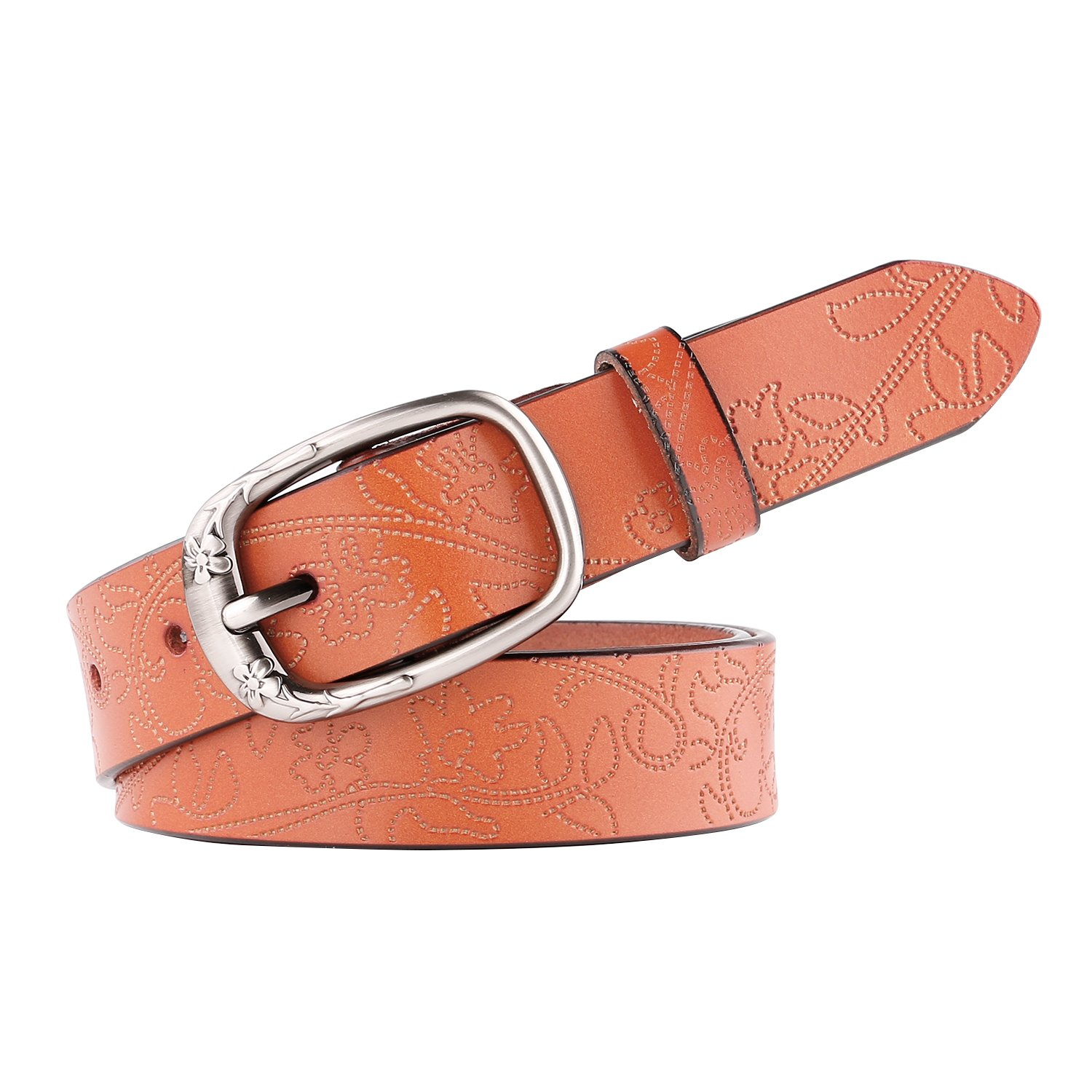 WERFORU Classic Women Leather Belts for Jeans Embossed Women Belt with Pin Buckl