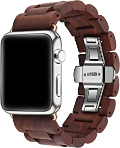 AIYIBEN Watch Band 42mm/44mm iWatch Band Bracelet Strap Stainless Steel Clap with Adjustable Links Compatible for iWatch Series 4/3/2/1 Sport Edition (Sandalwood-42mm/44mm)