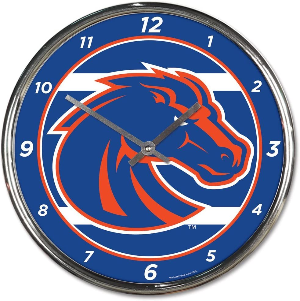 Boise State Broncos 12 inch Round Wall Clock Chrome Plated
