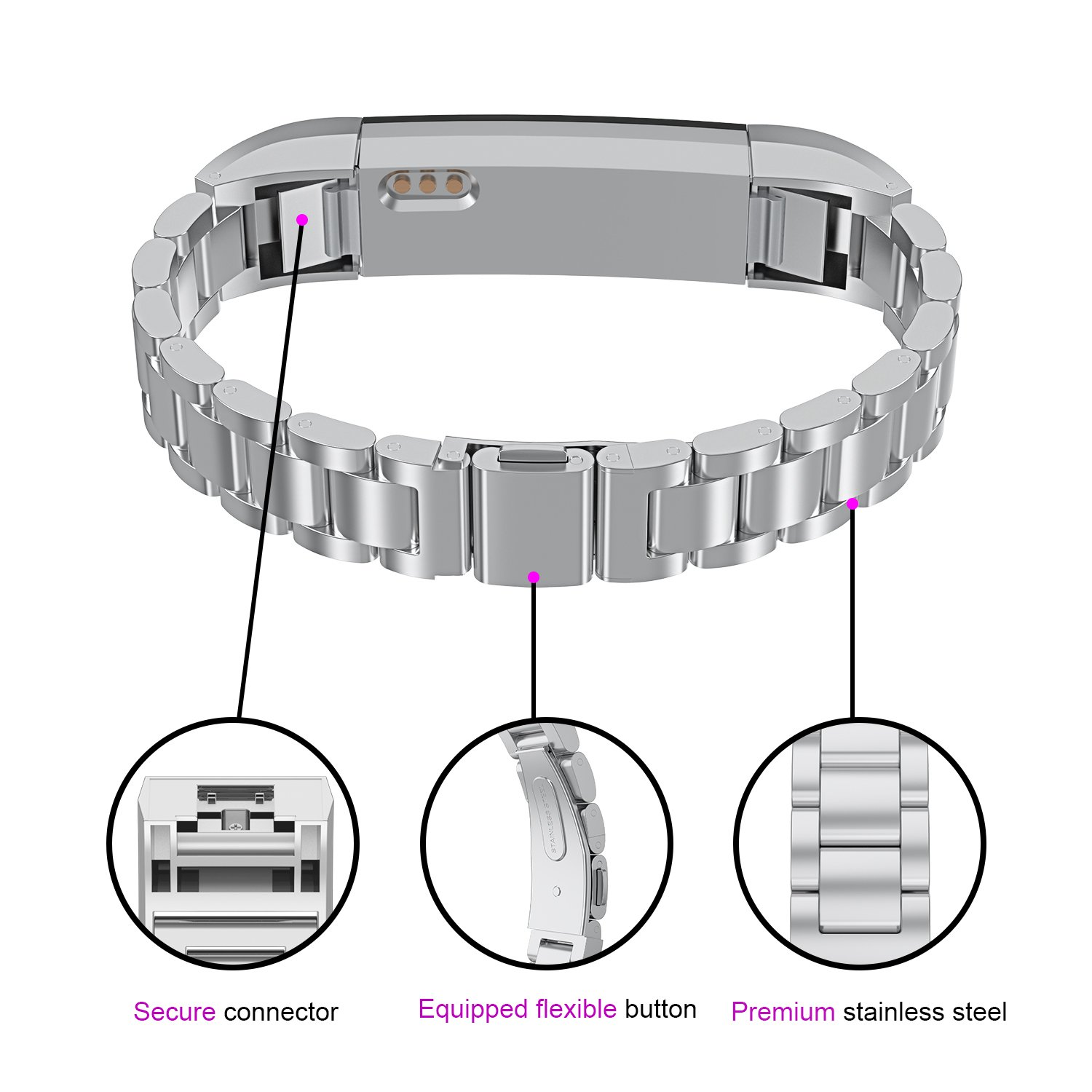 For Fitbit Alta HR Bands Adustable Replacement Steel Stainless Accessory Fitbit Alta Smartwatch Fitness Tracker Small large for Men & Women Alta Wristbans (Silver 1) by WOCOOL (Image #2)