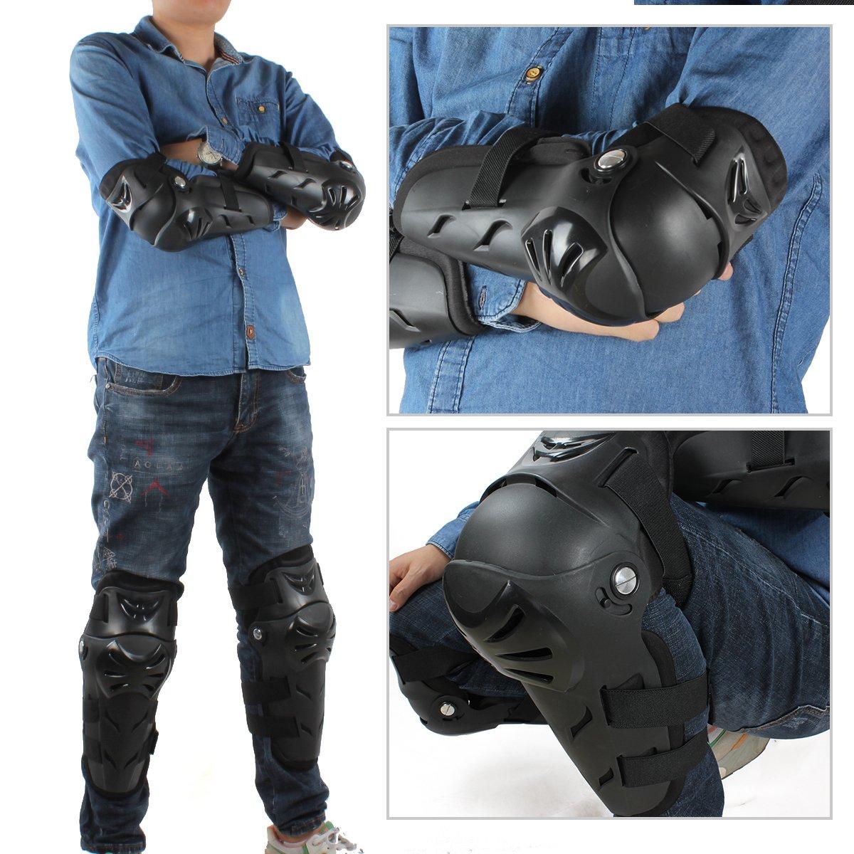 GES 4 Motorrad Knie- Ellenbogen Protektor Motocross Racing Knee Guard Schienbeinschoner schutzausr/üstungen f/ür Erwachsene Schwarz