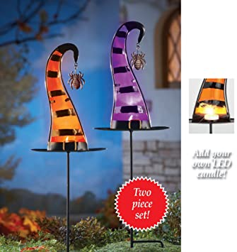 Halloween Witch Hat Candle Holder Garden Stakes   Set Of 2