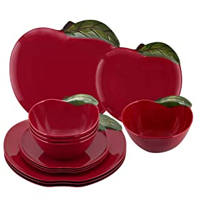 Gourmet Art 12-Piece Apple Melamine Dinnerware Set