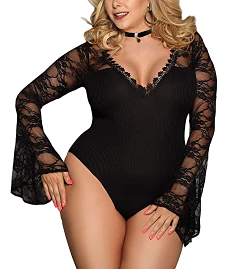 d1107874c3c XAKALAKA Women s Plus Size Deep V Neck Lace Bell Sleeve Stretchy Bodysuit  Jumpsuit Black M