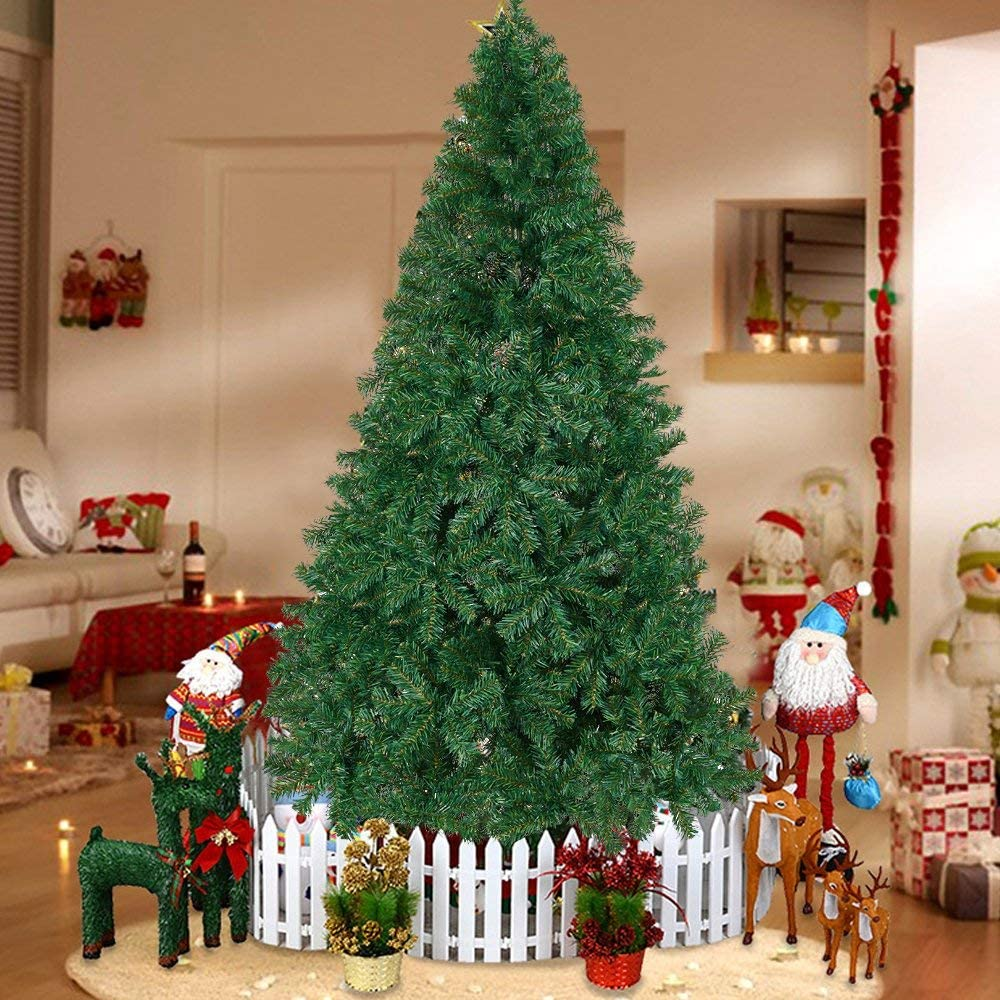 Dporticus 10' Premium Spruce Artificial Christmas Tree w/Metal Stand,Green (Green, 10-Ft)