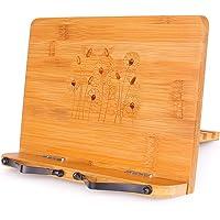 MEGREZ Foldable Bamboo Cook Stand (11 x 8.5 inch), Portable Reading Frame Rest Holder Desk Bookrest Cookbook Book Stand…