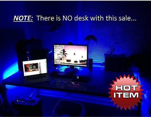 Amazon Com Multi Color Gaming Desk Gamer Desk Computer Desk Led Lighting Kit 8ft Remote Control Color Selectable With Effects Lifetime Warranty Video Games