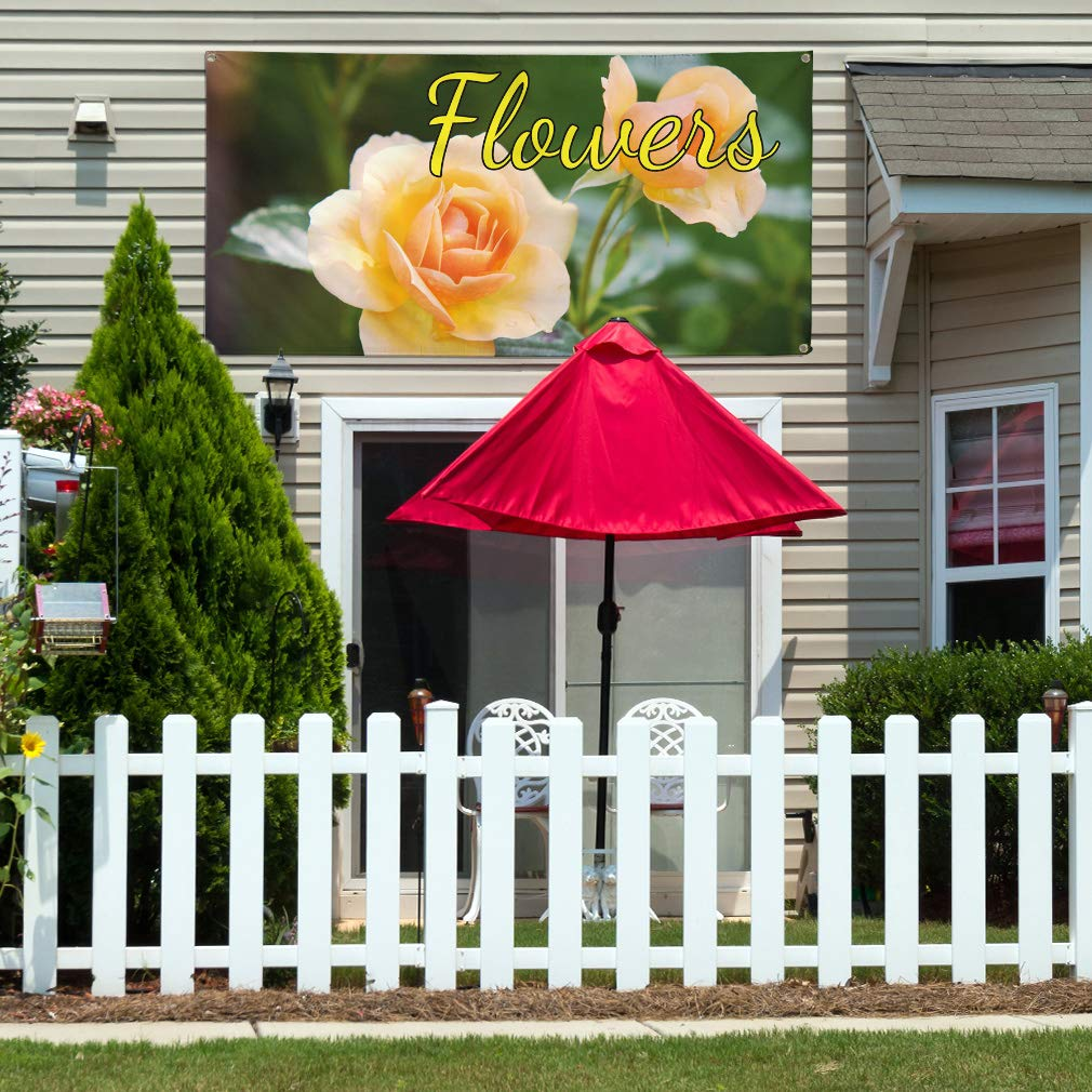 4 Grommets Set of 2 28inx70in Multiple Sizes Available Vinyl Banner Sign Flowers #1 Style A Business Flowers Marketing Advertising Yellow