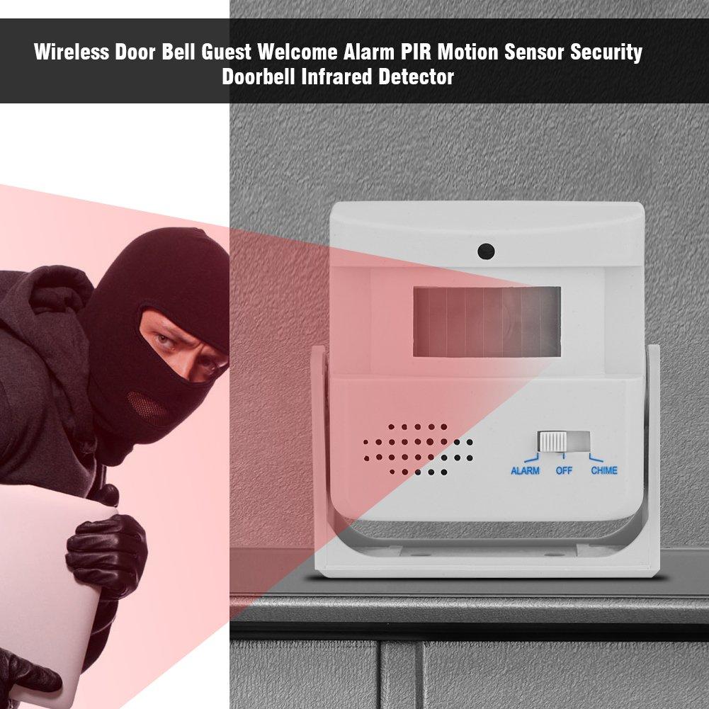 Detector Alarma Bell Puerta Seguridad en el Hogar Inalámbrico, Zerone Detector Infrarrojo Puerta Timbre Sensor Movimiento PIR para Puertas Delanteras ...