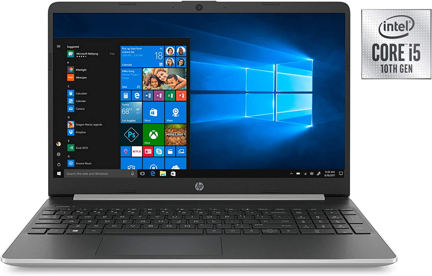 Newest HP 15.6inch Lightweight Laptop, Intel Quad-Core i5-1035G1 Processor Up to 3.60 GHz, 8GB DDR4 RAM, 256GB SSD + 16GB Optane, HDMI, Bluetooth, Win 10-Silver (Renewed)