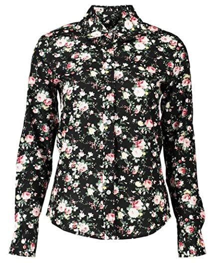 26897d02 Alion Women's Cactus Print Cotton Long Sleeve Peter Collar Shirt Top at  Amazon Women's Clothing store: