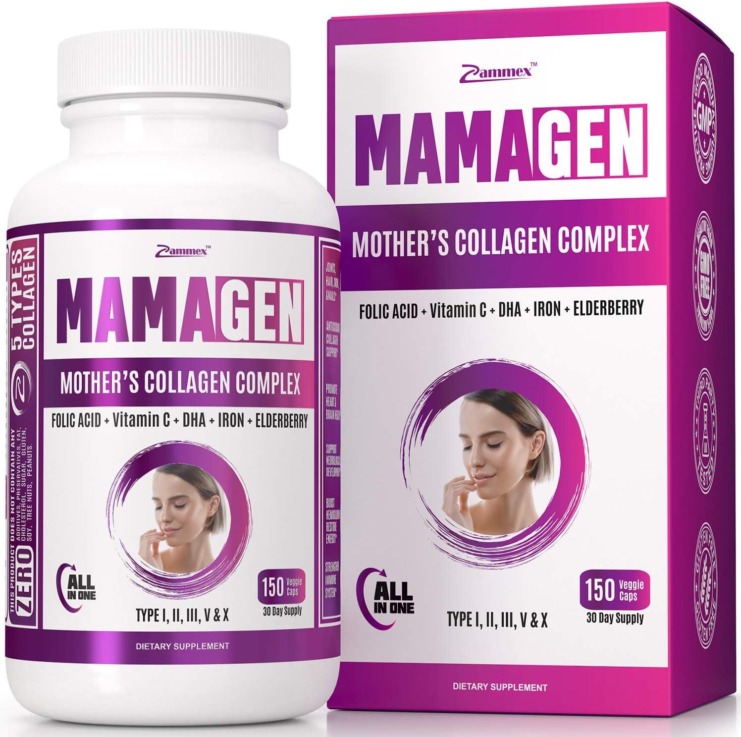 Premium Multi Collagen Peptides for Women (Types I, II, III, V & X) - Folic Acid, DHA, Elderberry, Vitamin C - Prenatal & Postnatal Supplement - Mother's Wellness. Non-GMO, 150 Capsules
