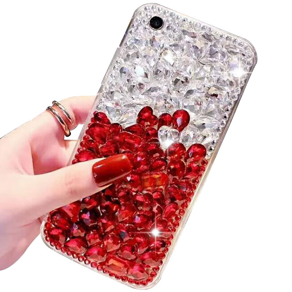 Voller Diamant Hü lle fü r iPhone XS Max, Aearl TPU Silikon Transparent 3D Bling Glitzer Kristall Steinchen Handyhü lle Bumper Case Cover mit Displayschutzfolie fü r iPhone XS Max 6.5 Zoll, Weiß