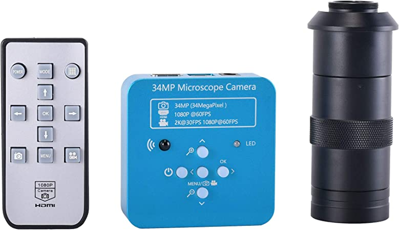SH-CHEN 21MP 2K 1080P 60FPS HDMI USB Industrial Digital Video Microscope Camera mikroskop kamera Magnifier for Phone PCB THT Soldering Color : Orange with 100X