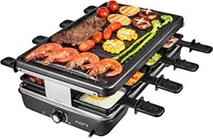 AONI Electric Raclette Grill Smokeless Party Grill Electric BBQ Grill with Non-Stick Grilling Surface, 1200W Temperature Control, Dishwasher Safe, Serve the whole family