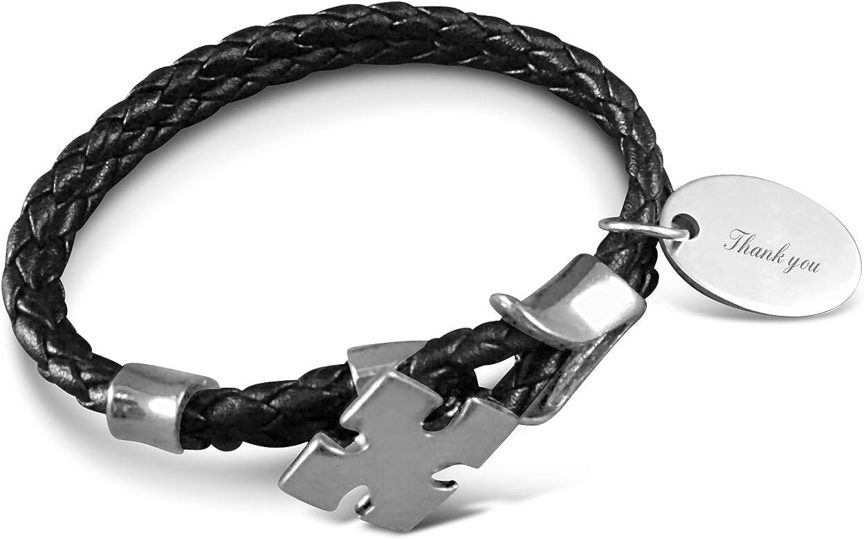 Grabado gracias cordón pulsera cruzada en caja regalo - BR41: Amazon.es: Joyería