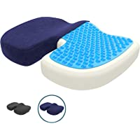 Cuscino del sedile ortopedico con strato di gel, cuscino in memory foam per scarico del coccige, riduzione della pressione, ad es. in piaghe da decubito, per auto, ufficio e sedia a rotelle, standard