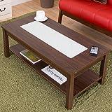 【お洒落な強化すりガラスを中心に】 木製 センターテーブル 収納棚付き ロータイプ オリーブ 組立簡単 色:ブラウン