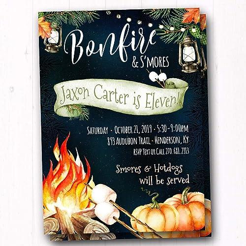 amazon com fall bonfire s mores party invitations set of 20