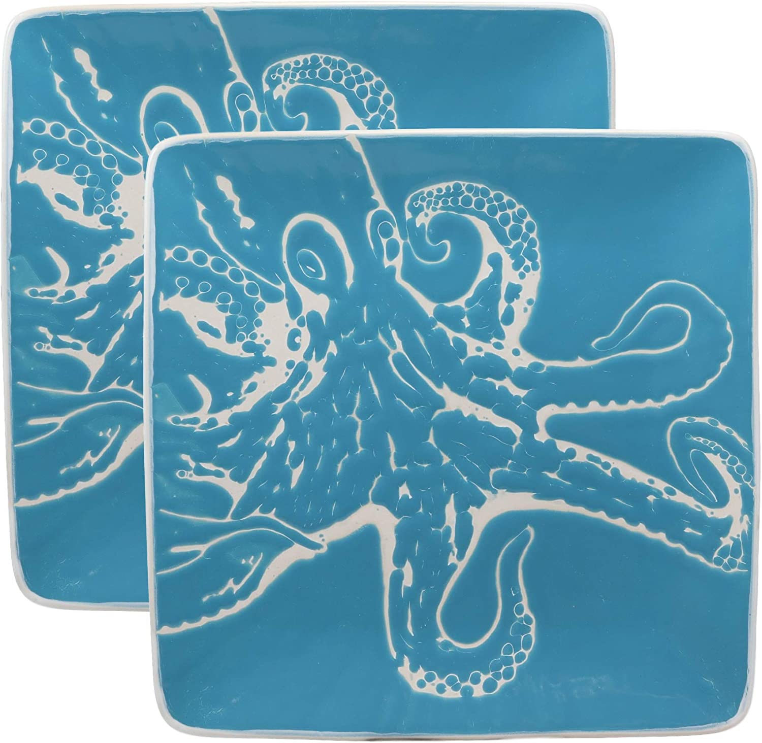 Ebros Nautical Coastal Ocean Sea Marine Giant Octopus Abstract Art Soothing Blue Large Dinner Plate Set of 2 Square 10.75