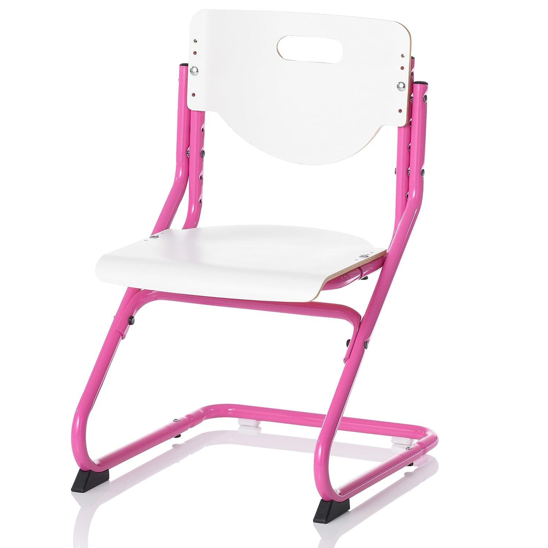 Kettler Chair Plus Weiß Schreibtischstuhl Kinder – hochwertiger Kinderschreibtischstuhl MADE IN GERMANY – Bürostuhl ergonomisch & höhenverstellbar – Freischwinger, der mitwächst – weiß & pink