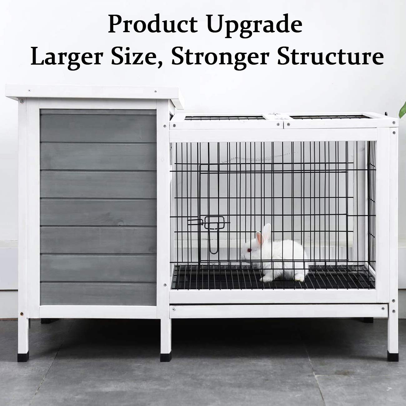 Sunnyglade Rabbit Hutch, Bunny Cage with Removable Tray, Bunny Hutch Wood 39.5'' L x 17.5'' W x 25.4'' H for Indoor Outdoor Use by Sunnyglade