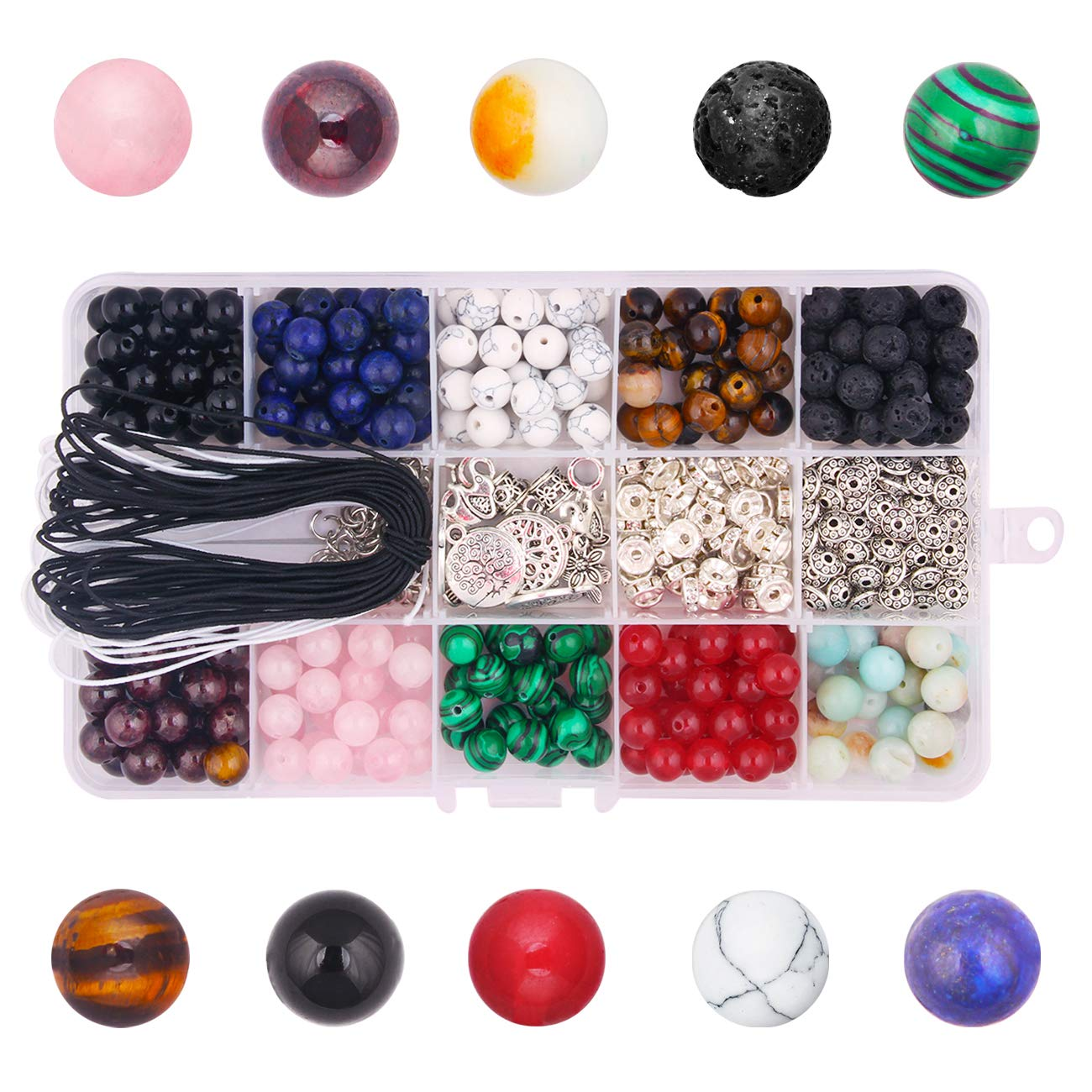 Dushi 418pcs Stone Beads Kits 8mm Loose Beads Gemstone Natural Lava Stone with Accessories for DIY Jewelry Making Dushi Trading Co. Ltd