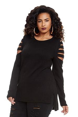 2ff3c6d4e6 Women s Plus Size Lydia Slash Sleeve Pull Over Sweater at Amazon ...