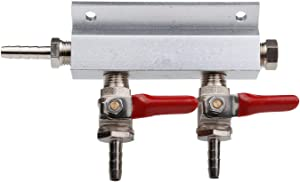 """2 Way Gas Manifold Distribution CO2 Splitter with Check Valves Home Brew beer 5/16"""" 8MM barb Fittings"""