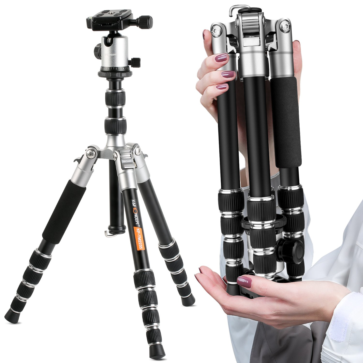 K&f Concept Compact Camera Tripod, 50 inch Lightweight Travel Tripod with Professional 360° Panorama Ball Head,1/4'' Quick Release Plates for DSLR DV Canon Nikon Sony (TM2235)
