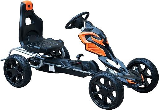 HOMCOM Go Kart Racing Deportivo Coche de Pedales para Niños 5-12 Años con Asiento Ajustable Embrague y Freno Ruedas de Goma 122x60x70cm Negro y Naranja: Amazon.es: Juguetes y juegos